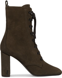 Loulou lace up suede ankle boots army green medium 5082902