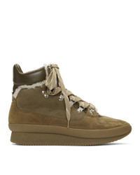 Isabel Marant Taupe Shearling Brendta Hiking Boots