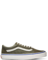 Olive Suede Low Top Sneakers