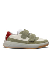 Acne Studios Green And Beige Suede Perey Sneakers