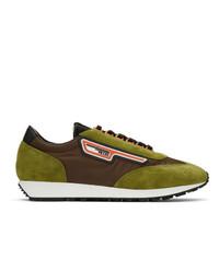 Prada Green And Brown Suede Sneakers