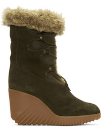 Chloé Green Shearling Foster Boots