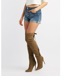 Charlotte Russe Lace Up Back Over The Knee Boots
