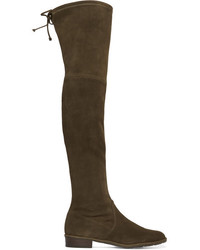Stuart Weitzman Lowland Stretch Suede Over The Knee Boots Army Green