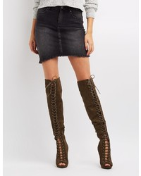 Charlotte Russe Peep Toe Lace Up Over The Knee Boots