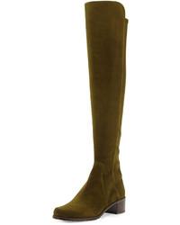 Stuart Weitzman Reserve Suede Over The Knee Boot Olive