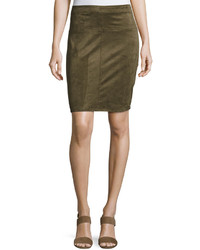 Faux suede pencil skirt olive medium 736226