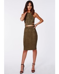 Olive Suede Pencil Skirts for Women | Women's Fashion