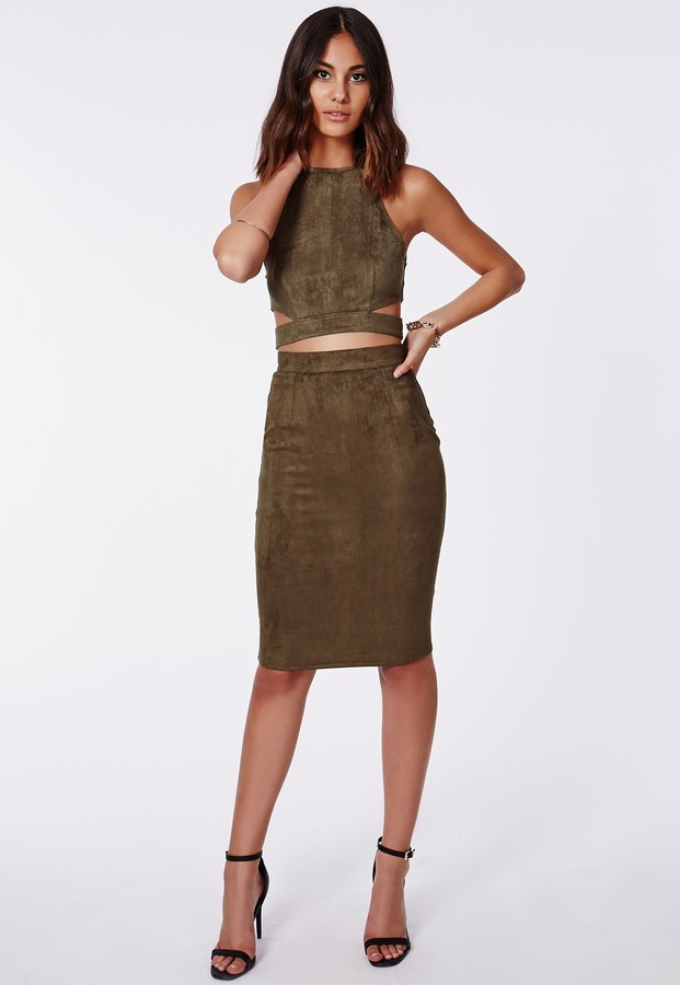 Missguided Berryana Faux Suede Midi Skirt Khaki | Where to buy ...