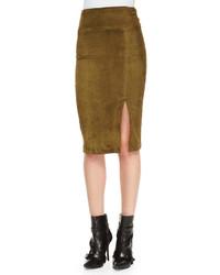Tani suede pencil skirt olive medium 239095