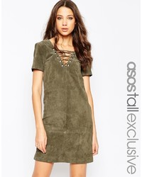 Asos Tall Suede Dress With Lace Up Detail