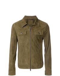 Olive Suede Shirt Jacket