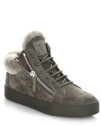 Giuseppe Zanotti Sheep Shearling Suede Mid Top Sneakers