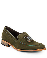 Olive Suede Tassel Loafers