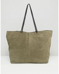 Asos Suede Croc Shopper Bag With Knot Detail