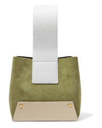 Yuzefi Tab Small Color Block Textured Leather And Suede Tote