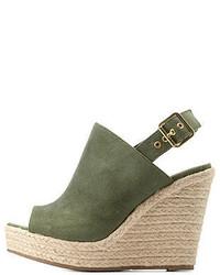 Charlotte Russe Peep Toe Slingback Wedge Sandals