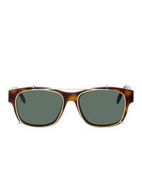 Alexander McQueen And Gold Rectangular 54 Sunglasses