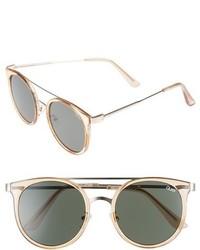 Quay Australia Kandy Gram 51mm Round Sunglasses Gold Green Lens