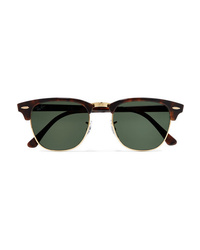 Ray-Ban Clubmaster Tortoiseshell Acetate And Gold Tone Sunglasses