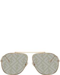 Fendi Gold Grey Forever Aviator Sunglasses