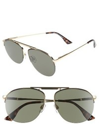 Le Specs Liberation 57mm Aviator Sunglasses Dark Gold Tortoise
