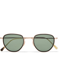 Mr Leight Roku S Round Frame 12 Karat White Gold And Horn Sunglasses