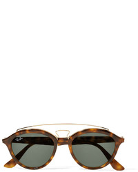 Ray-Ban Round Frame Acetate And Gold Tone Sunglasses