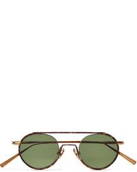 Acne Studios Round Frame Tortoiseshell Acetate And Bronze Tone Sunglasses