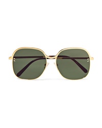 Stella McCartney Square Frame Gold Tone And Acetate Sunglasses
