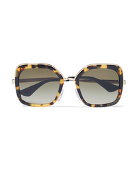 Prada Square Frame Tortoiseshell Acetate And Gold Tone Sunglasses