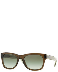 Burberry Transparent Plastic Sunglasses With Check Detail Olive