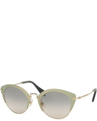 Miu Miu Trimmed Gradient Cat Eye Sunglasses Green