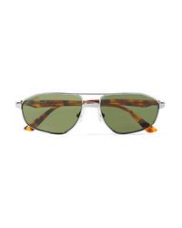 Balenciaga Vintage Aviator Style Silver Tone Sunglasses