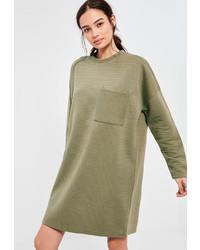 Missguided Khaki Ribbed Pocket Sweater Dress