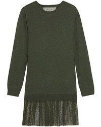 RED Valentino Redvalentino Cashmere And Point Desprit Mini Sweater Dress Dark Green