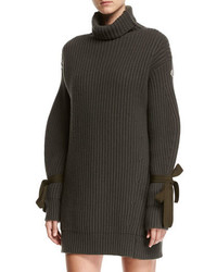 Turtleneck ribbed ribbon sweater dress medium 3995287