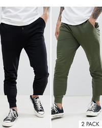 ASOS DESIGN Skinny Joggers 2 Pack Blackdark Green