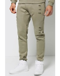 Boohoo Skinny Joggers With Ripped Detail