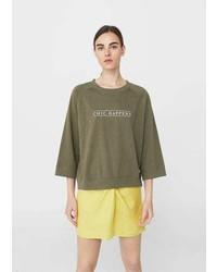 Mango Cotton Blend Message Sweatshirt