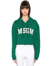 MSGM Cropped Printed Cotton Sweatshirt