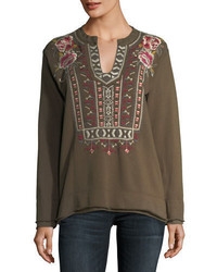Johnny Was Issoria Embroidered French Terry Sweatshirt Plus Size