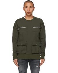 Balmain Khaki Cotton Pockets Sweatshirt