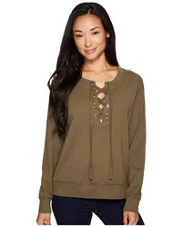 Mod-o-doc Soft As Cashmere Cotton Interlock Lace Up Sweatshirt Sweatshirt