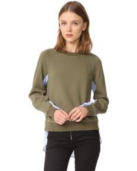 Derek Lam 10 Crosby Sweatshirt With Shirting Combo