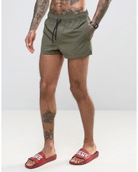 Asos Swim Shorts In Khaki Super Short Length