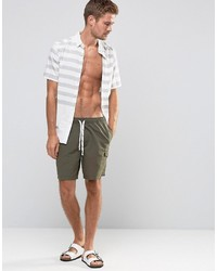 887e2e2d2d ... Asos Swim Shorts With Cargo Pocket And Drawcord Detail In Khaki Mid  Length