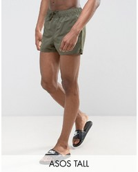 Asos Tall Swim Shorts In Khaki Super Short Length