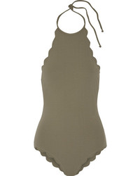 Marysia Swim Marysia Mott Scalloped Halterneck Swimsuit Army Green