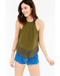 Glamorous Cut In Crochet Trim Tank Top